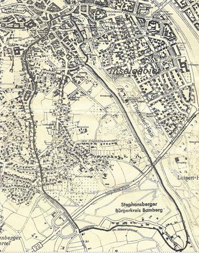 Vereinsgebiet des Bürgervereins Stephansberg zwischen Kaulberg und Regnitz in Bamberg
